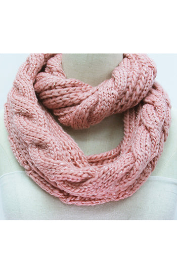 Winter Infinity Cable Scarf Blush
