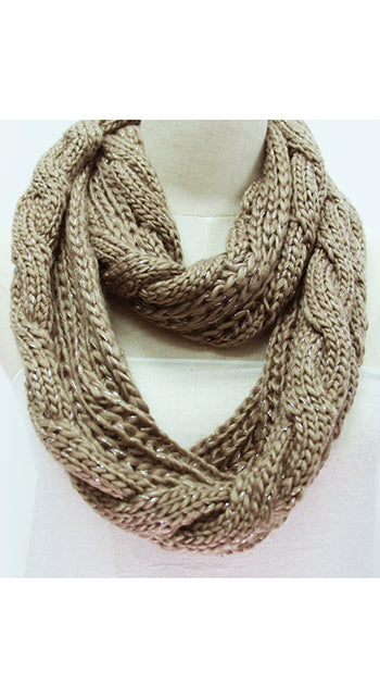 Winter Infinity Cable Scarf Natural