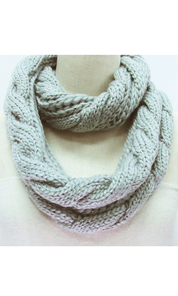 Winter Infinity Cable Scarf Grey