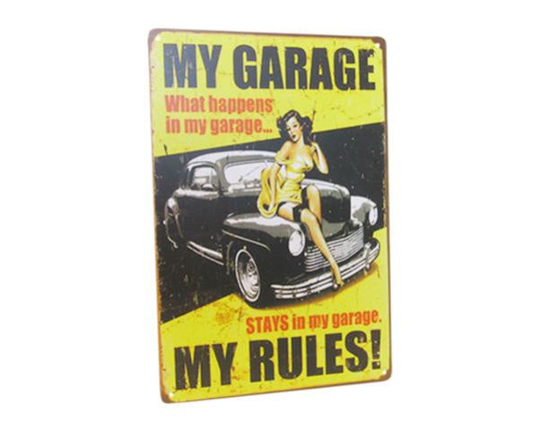 Art Tin Garage Rules Sign