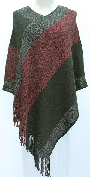 Black and Ruby Poncho 80PST-13