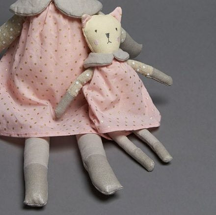 Grey Cat with Pink Dress Rattle