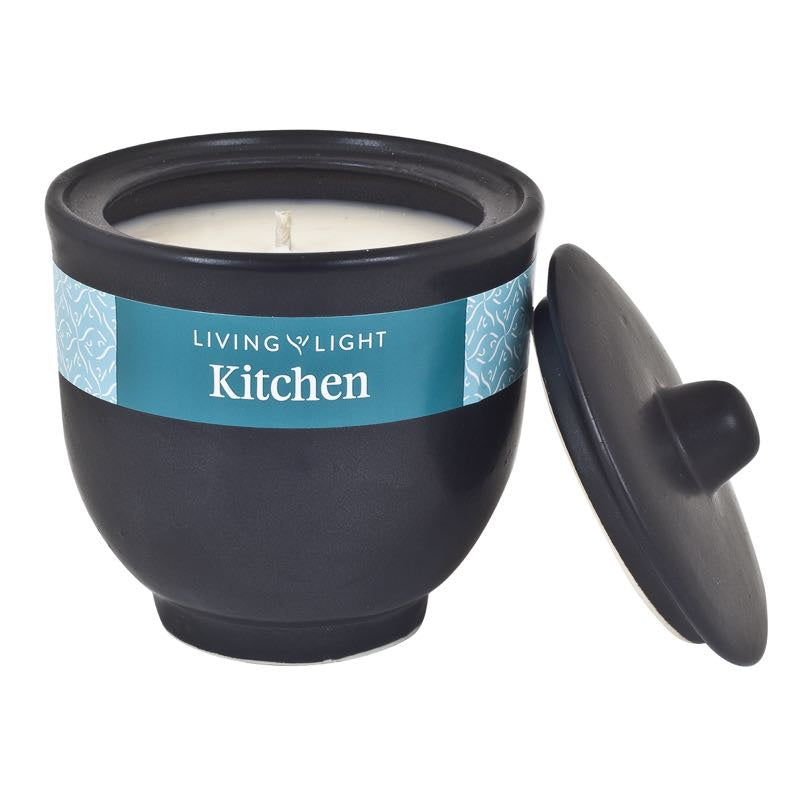 Living Light Kitchen Soy Candle in Black Ceramic Pot 40 hrs