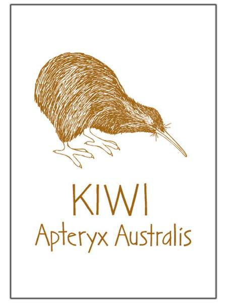 Brown Kiwi Tea Towel