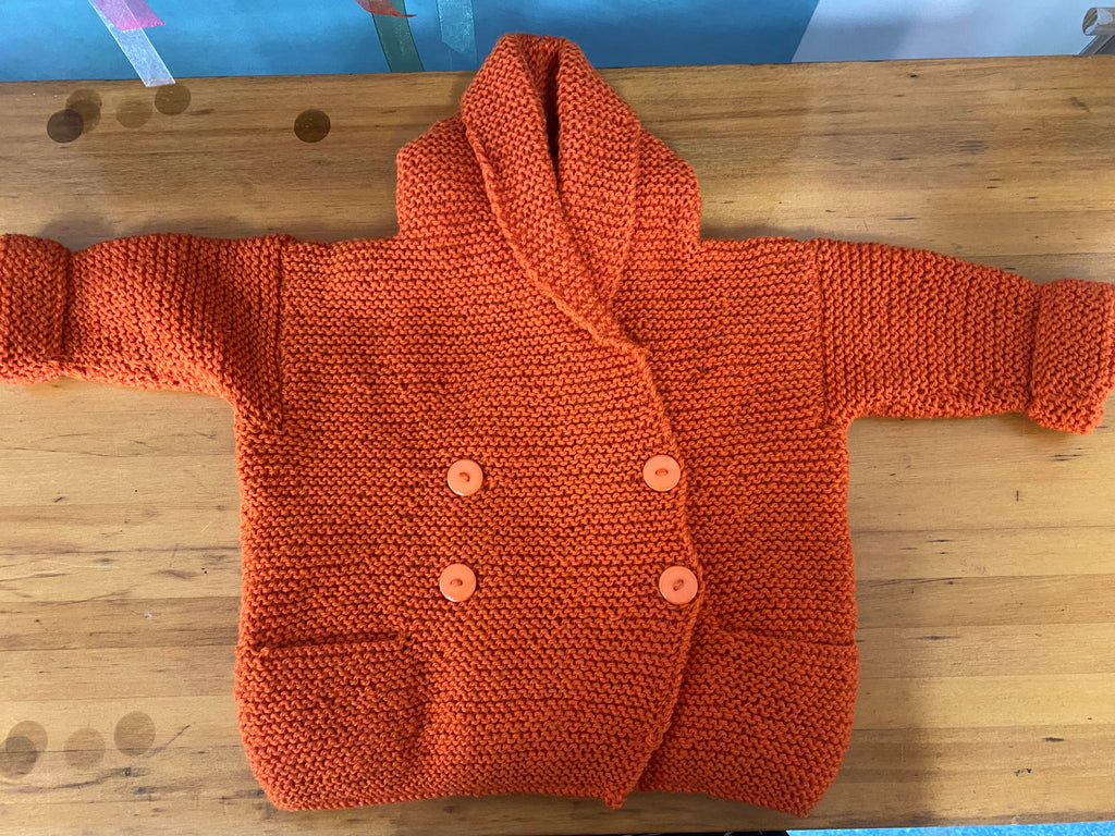 Burnt Umber (9-12 months) Hand Knitted Cardigan