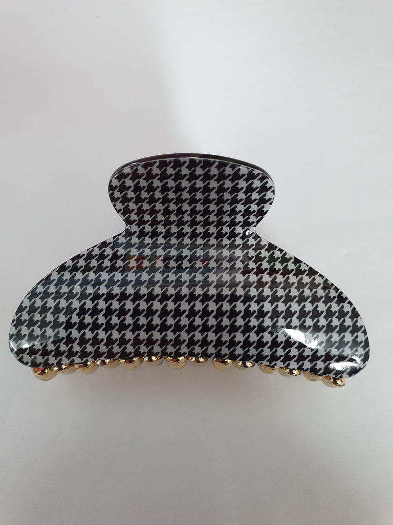 Black & White Small Houndstooth Hairclip