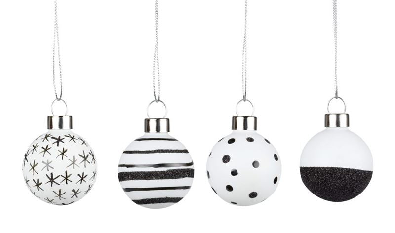 Räder - Black & White Assorted Set of 4 - Christmas Baubles