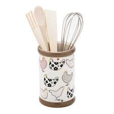 Gingham Chicken Utensil Holder