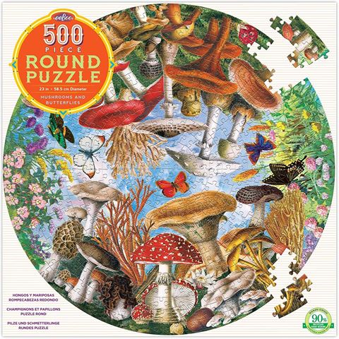 Eeboo - Mushrooms & Butterflies Round - 500 Pce Puzzle
