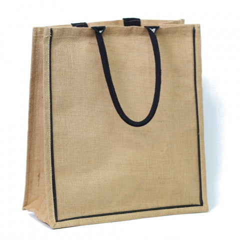 Large Jute Bag with Black Edging
