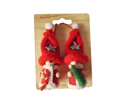 Excelong - Red Felt Doll 2 Pkt - Christmas Decorations