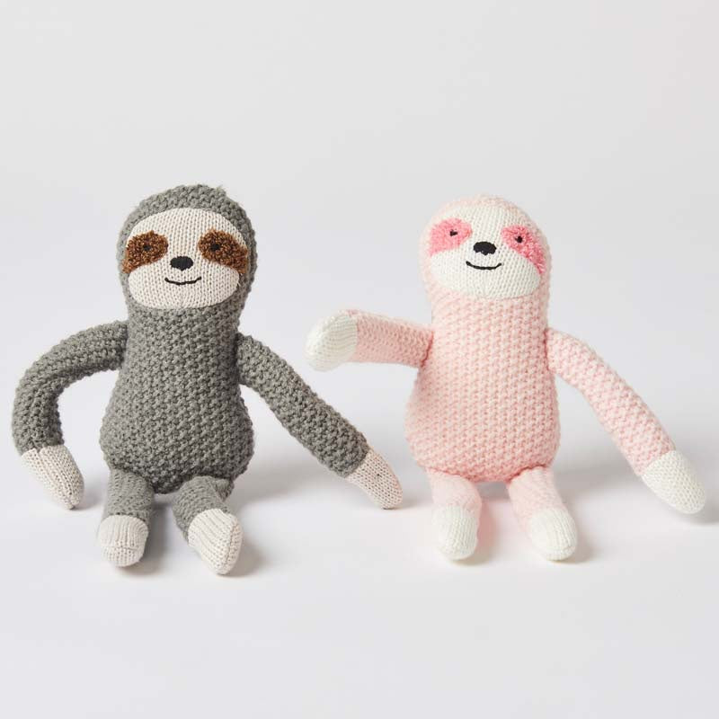 Pink & Grey Sloth Rattle