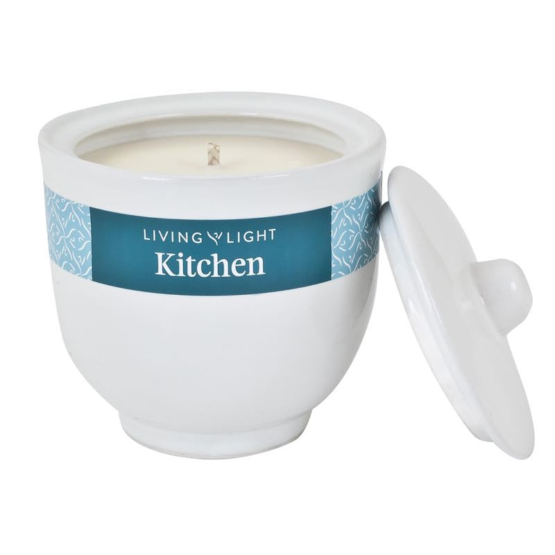 Living Light Kitchen Soy Candle in White Ceramic Pot 40 hrs