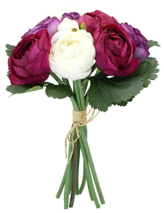 Artificial Peony Bouquet Purple, Pink & White