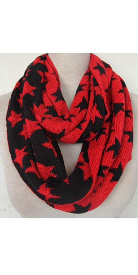 Red and Black Stars Infinity Scarf