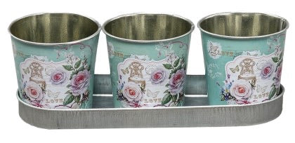Love Rose S/3 Tin Pots in Tray
