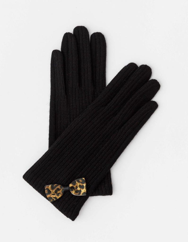 Stella & Gemma Black with Leopard Bow Gloves