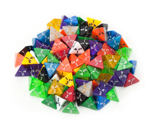 D4 Bulk Dice 100 Pack 20MM Assorted Colors