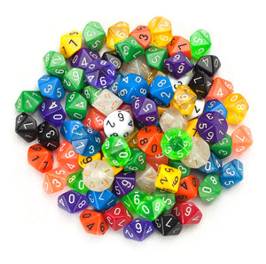 D10 Bulk Dice 100 Pack 20MM Assorted Colors