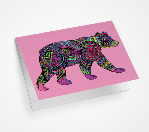 Black Bear Walking Blank Card