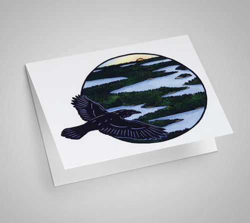 Canoe Country Raven Blank Card