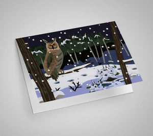 Owl in Snow Blank Card