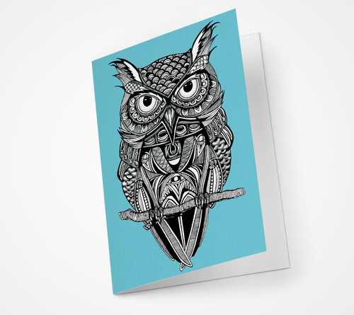 Perched Owl Blank Card