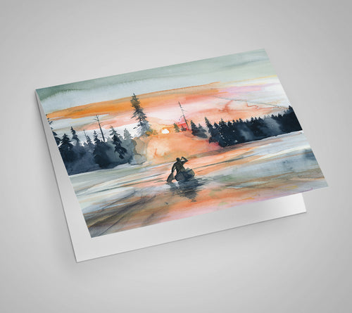 Sunset Paddle Blank Card