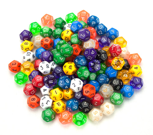 D12 Bulk Dice 100 Pack 20MM Assorted Colors