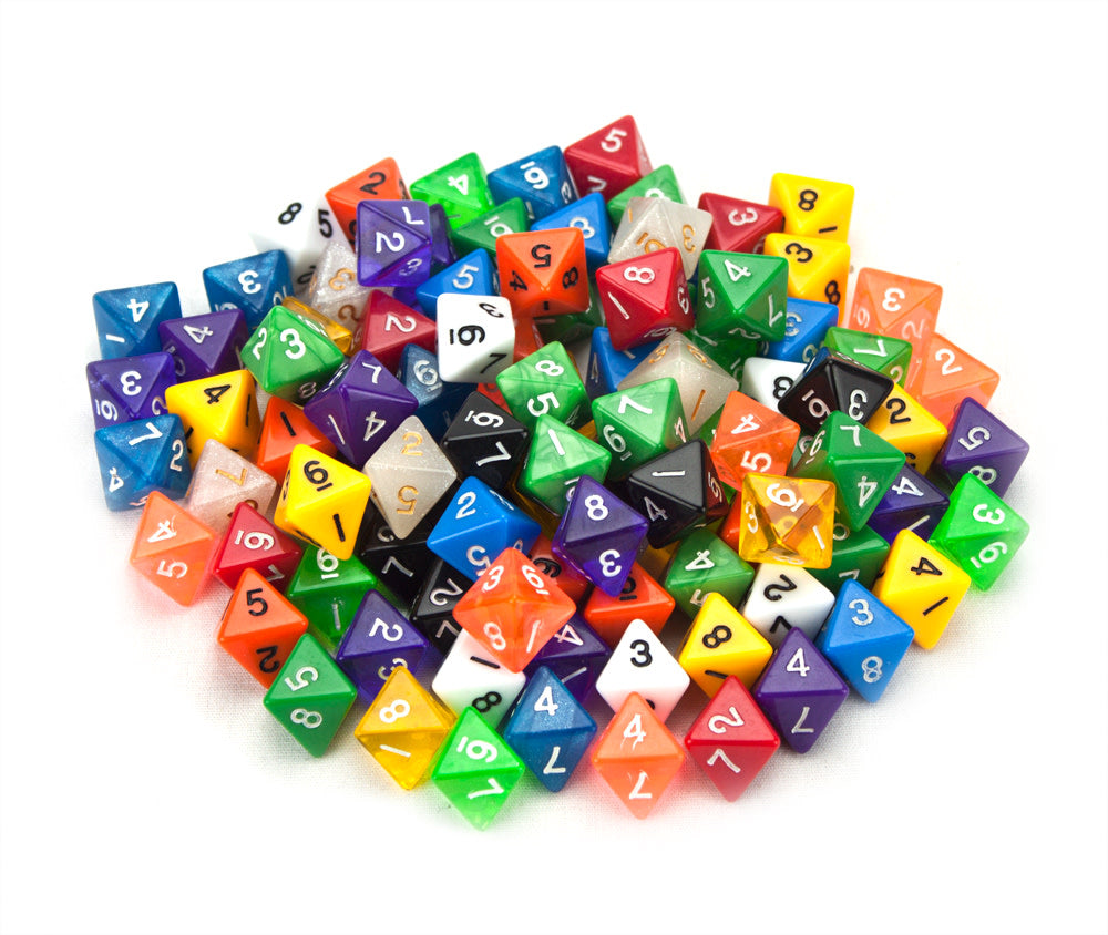 D8 Bulk Dice 100 Pack 20MM Assorted Colors