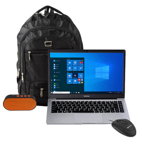 "Prestigio 14.1""/ inch AMD Windows 10 Home Student Bundle (Bag, Wired mouse and Bluetooth Speaker Included)"