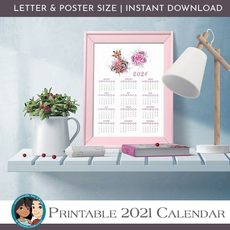 2021 Girls Printable Wall Calendar, Confidence + Self Love Printable Planner Insert, Gratitude Journal Printable, Self Care