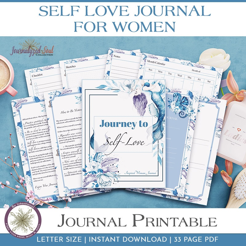 Printable Self Love Journal, Women, Self Care, Positive Affirmations, Bullet Journal