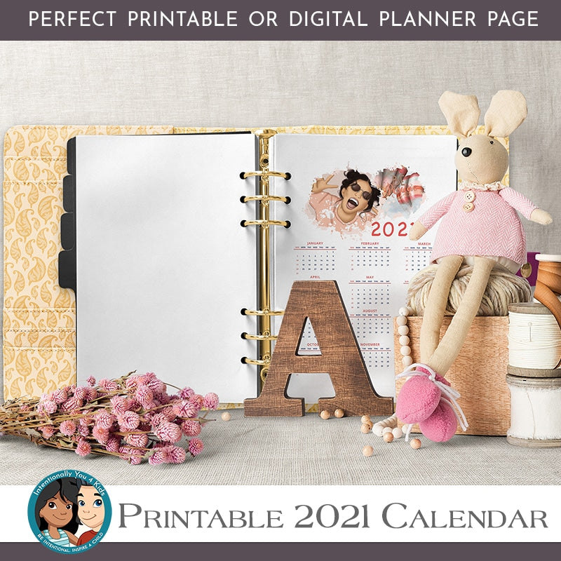 2021 Printable Girls Wall Calendar, Gratitude Journal Printable, Planner Insert, Positive Affirmations, Watercolor Palette