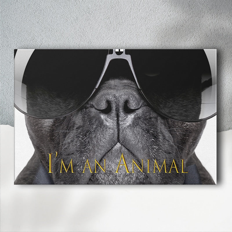 Wall Art Canvas Print For Dog Lovers 5 Sizes Bulldog Wearing Sunglasses