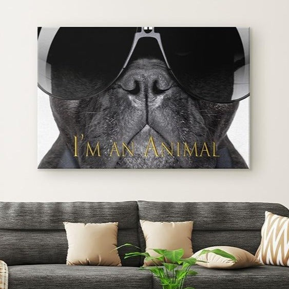 French Bulldog Canvas Wall Art Hanging above Sofa