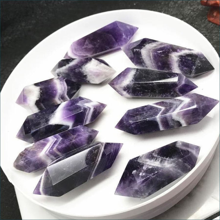 10 Piece Set Doubled Pointed Dream Amethyst Wands