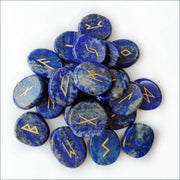 25 Piece Carved Lapis Lazuli Rune Set With Pouch