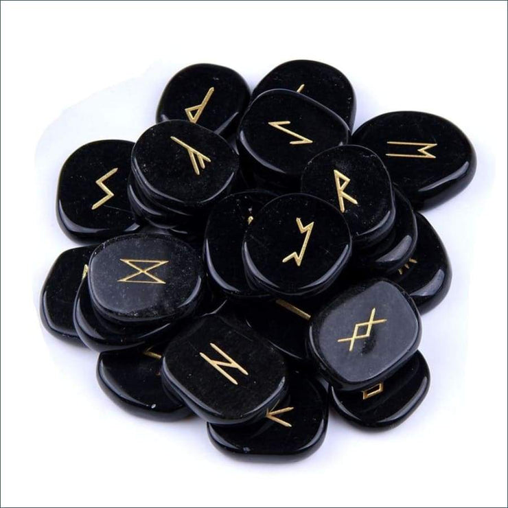 25 Piece Carved Obsidian Rune Set With Pouch