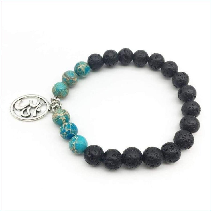 African Turquoise and Lava Stone Mala Bead Bracelet with Ohm Charm