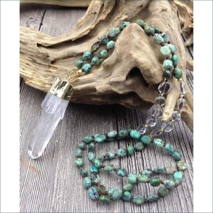 African Turquoise Mala Bead Necklace with Crystal Quartz Pendant