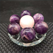 Amethyst and Rose Quartz 7 Piece Sphere Set with Stand