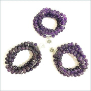 Amethyst Mala Bead Necklace with Lotus Charm