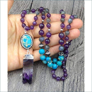 Amethyst Mala Bead Necklace with Turqoise Pendant