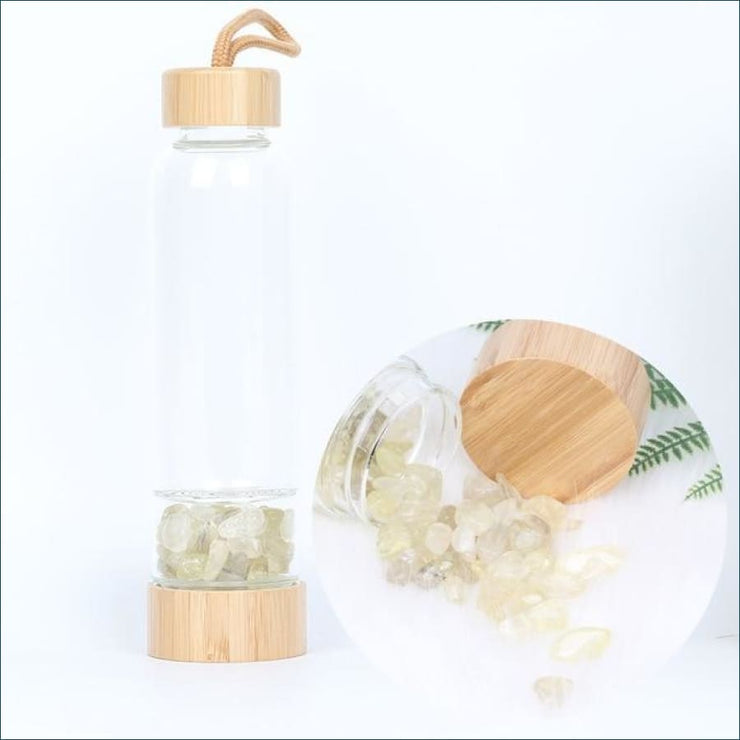 Bamboo Style Tumbled Gemstone Krystal Hydration Water Bottle - Citrine
