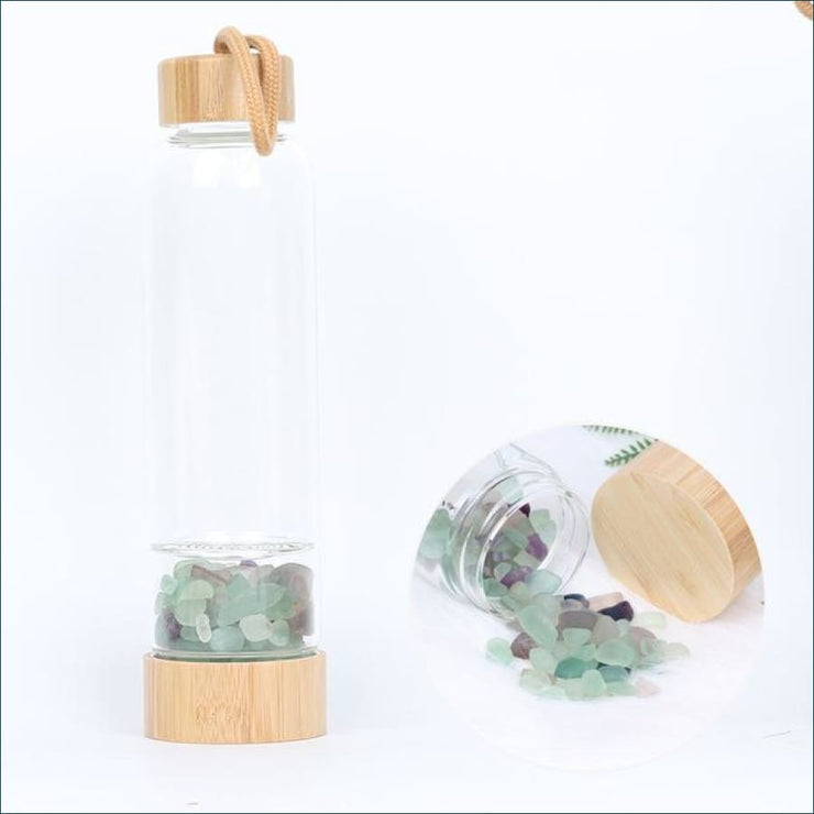 Bamboo Style Tumbled Gemstone Krystal Hydration Water Bottle - Color fluorite