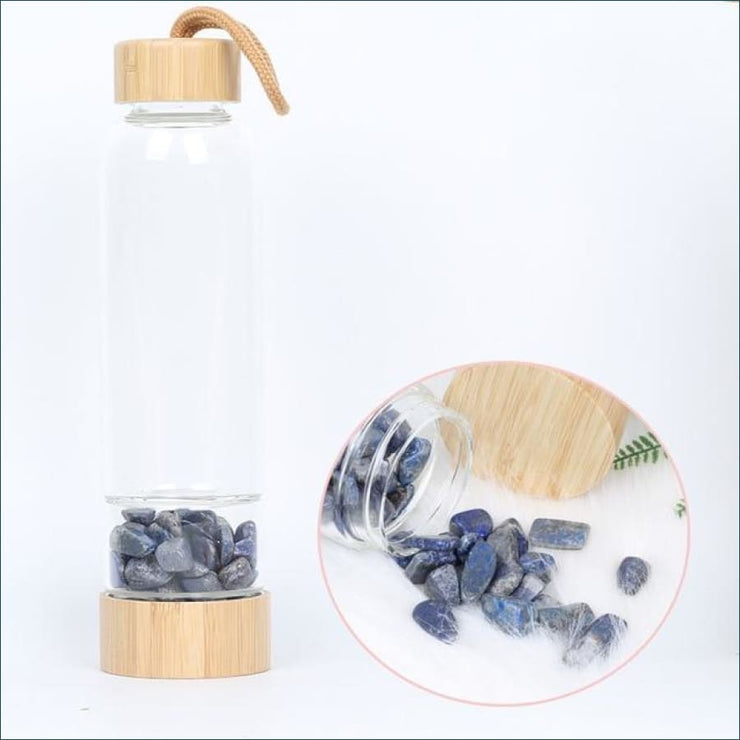 Bamboo Style Tumbled Gemstone Krystal Hydration Water Bottle - Lapis lazuli