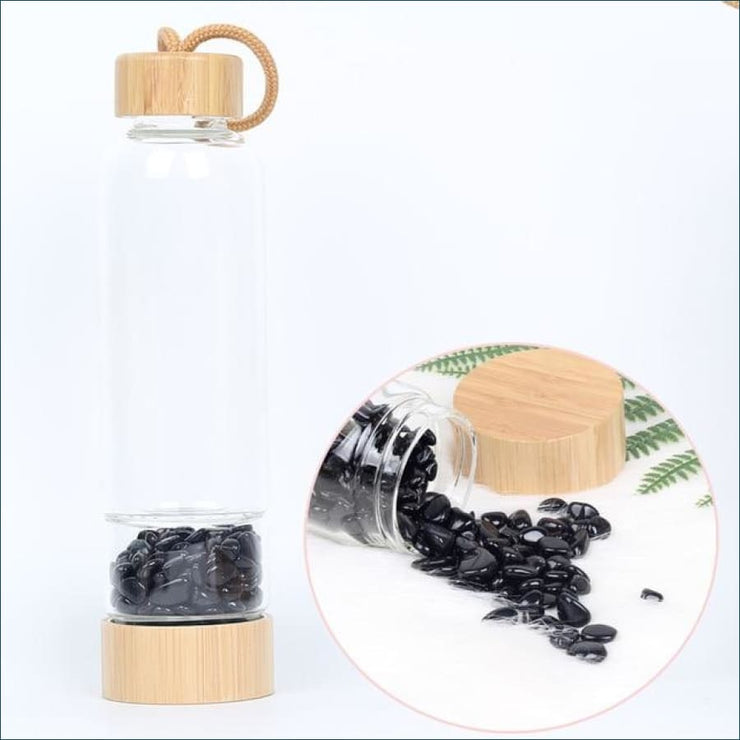 Bamboo Style Tumbled Gemstone Krystal Hydration Water Bottle - Obsidian