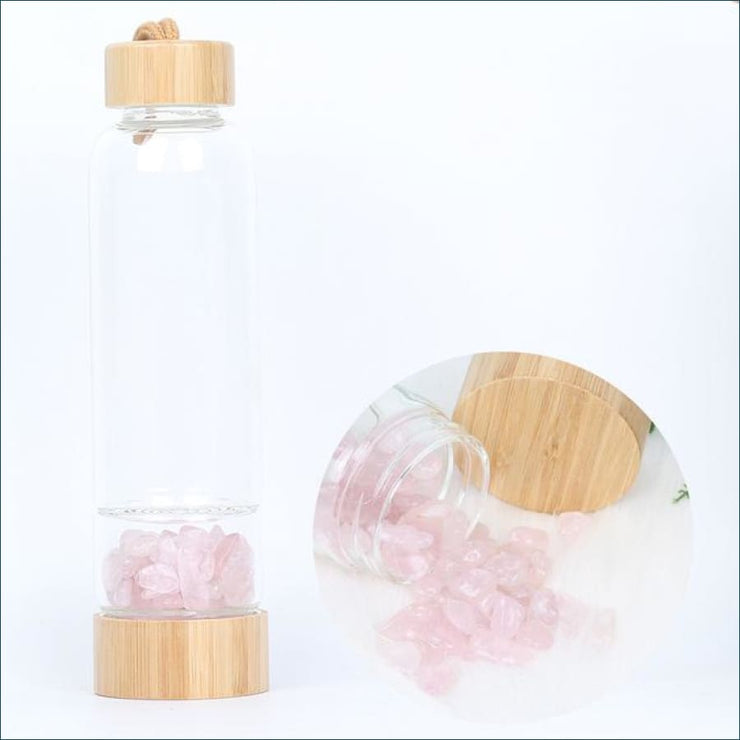 Bamboo Style Tumbled Gemstone Krystal Hydration Water Bottle - Rose