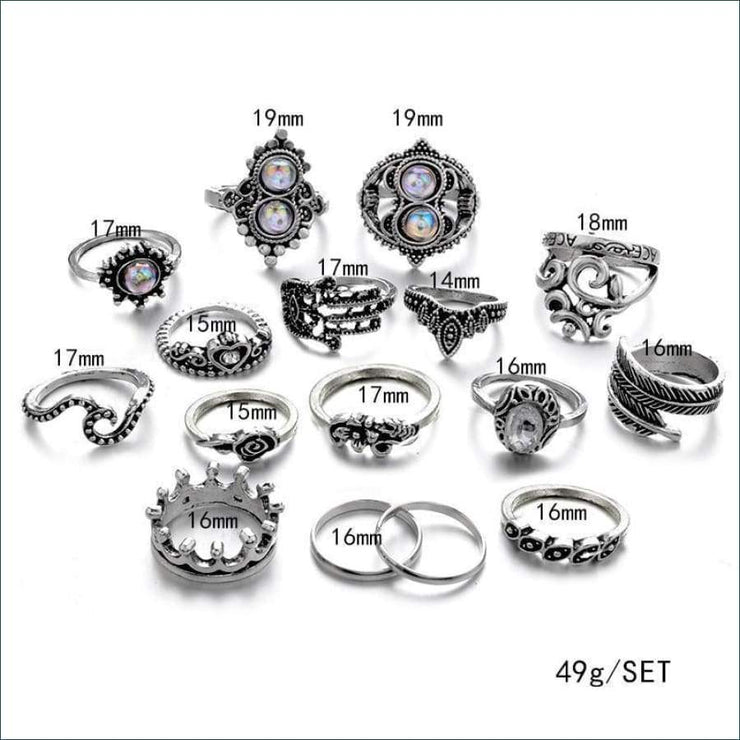Boho Antique 16 Piece Ring Set